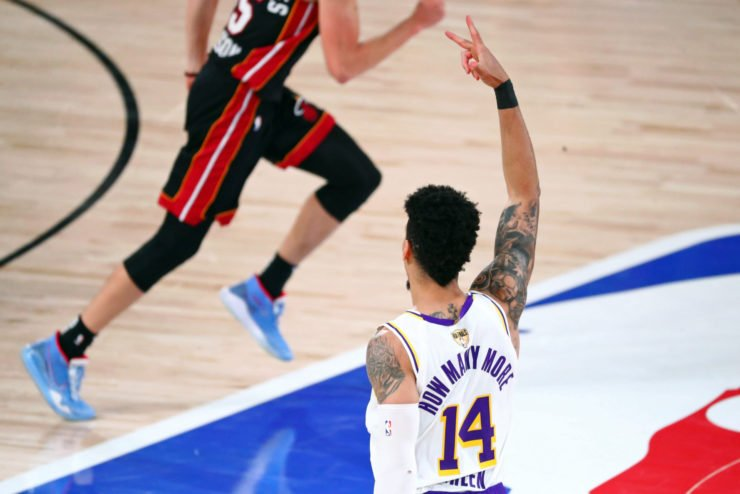 Lakers' Danny Green reacts during NBA Finals 2020
