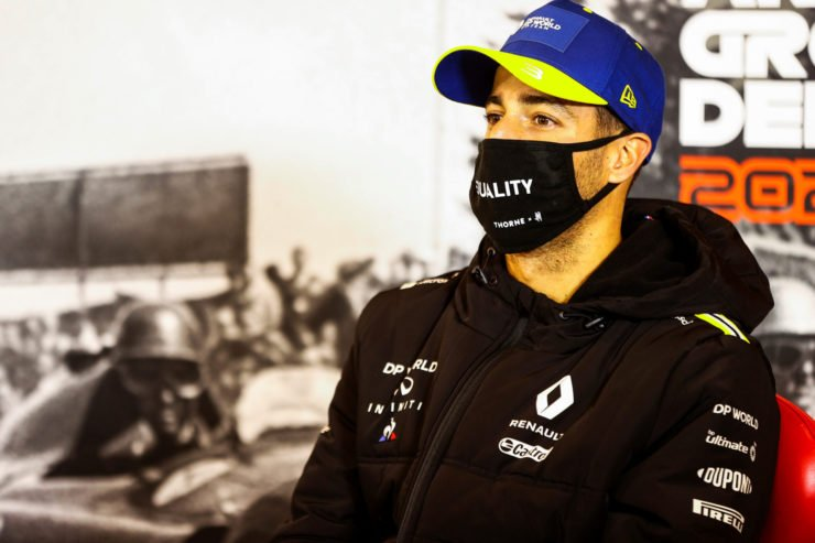 Renault's Daniel Ricciardo at the Post Race press Conference for the F1 Eifel Grand Prix