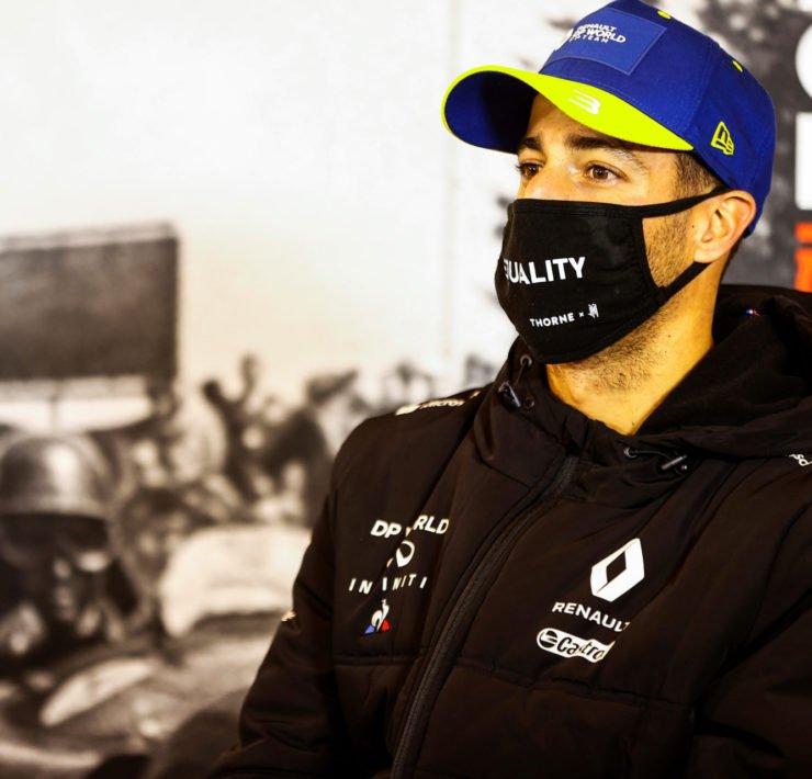 Renault's Daniel Ricciardo at the Post Race press Conference for the F1 Eifel Grand Prix