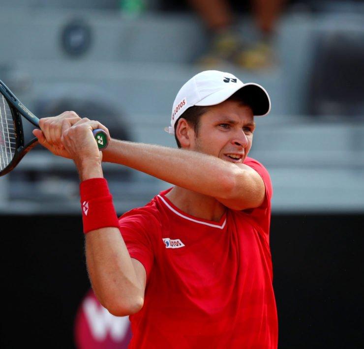 Hubert Hurkacz plays a shot during the Italian Open 2020