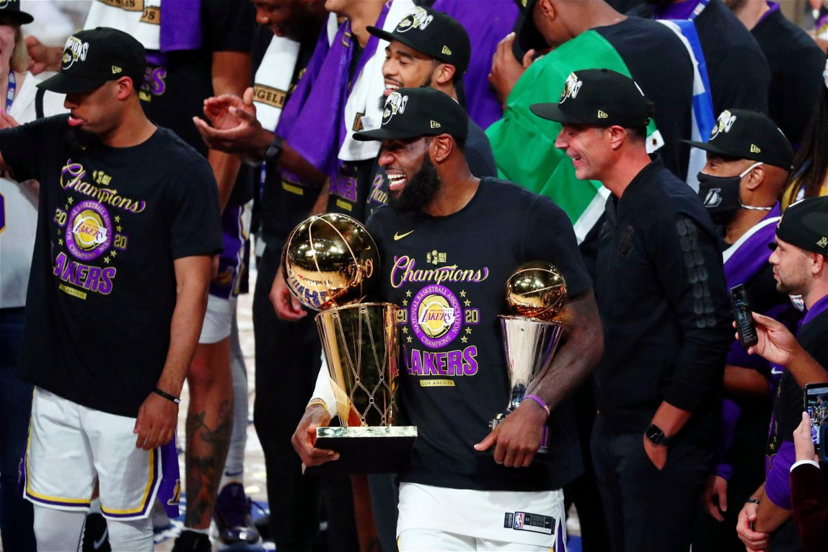 Los Angeles Lakers forward LeBron James with MVP trophy