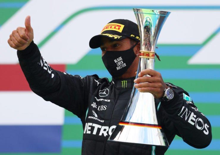 Lewis Hamilton celebrates on the Eifel GP Podium