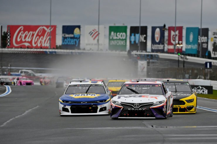 Chase Elliott and Denny Hamlin during the NASCAR Cup Series race at the Charlotte Roval