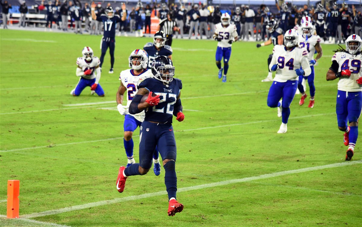 Tennessee Titans running back Derrick Henry scores a rushing touchdown against Buffalo Bills in Week Five.