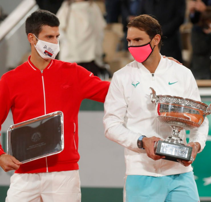 Novak Djokovic and Rafael Nadal with their trophies at French Open 2020