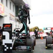 Lewis Hamilton post the conclusion of the Eifel GP race