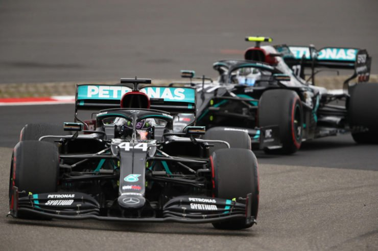 Mercedes drivers Lewis Hamilton and Valtteri Bottas during the Eifel GP