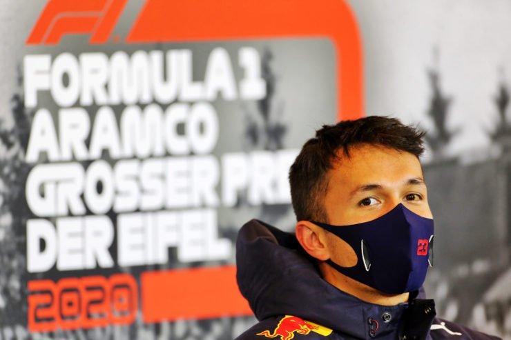 Alex Albon during the Eifel GP press conference