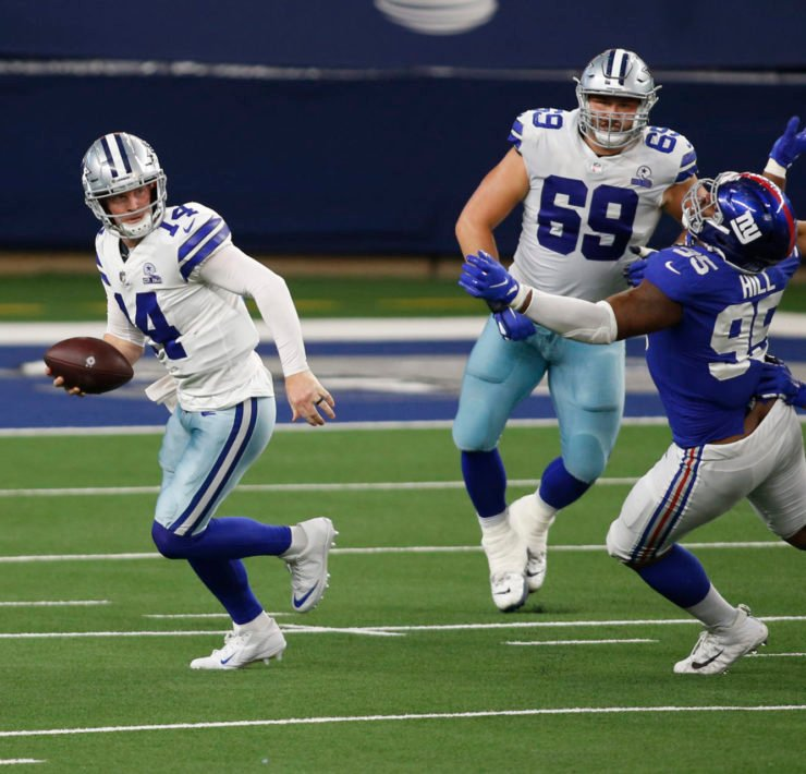 Dallas Cowboys quarterback Andy Dalton attempts to make a play against New York Giants on Sunday.