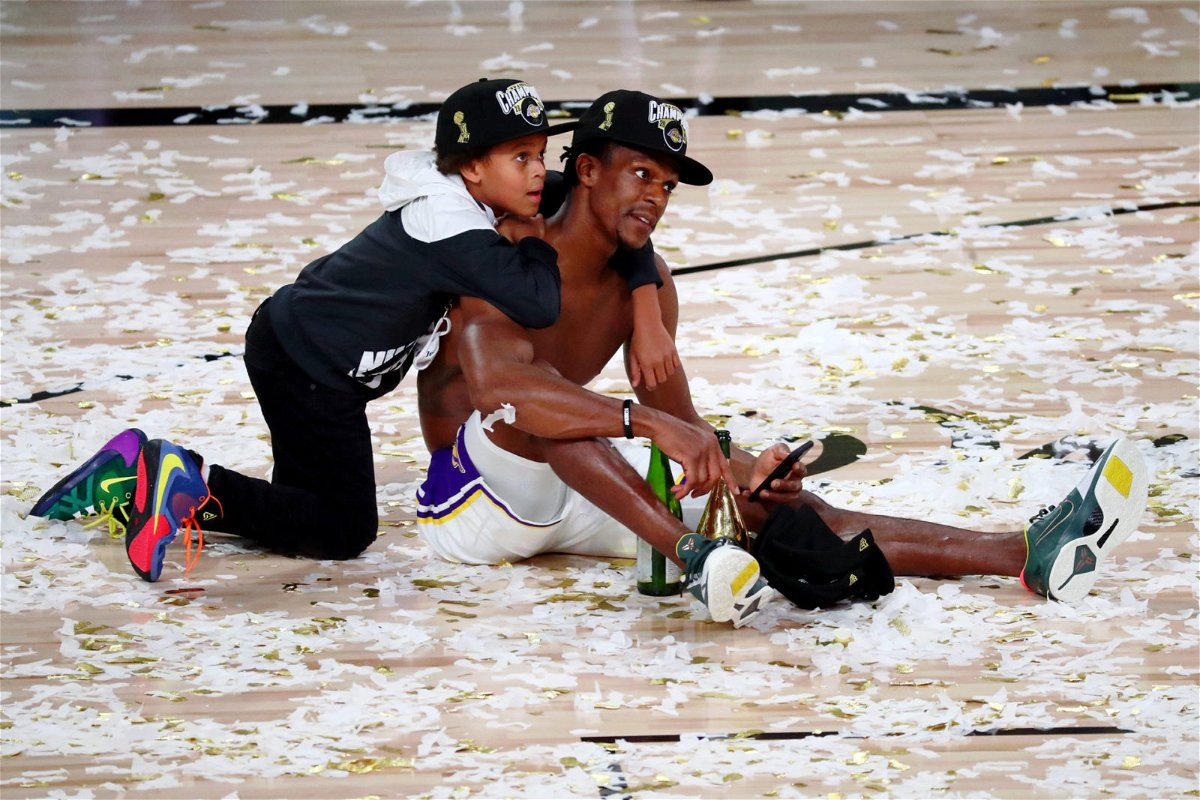Lakers' guard Rajon Rondo celebrating in 2020 NBA Finals