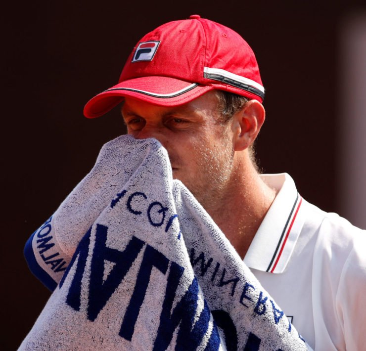 Sam Querrey reacts during the Italian Open 2020