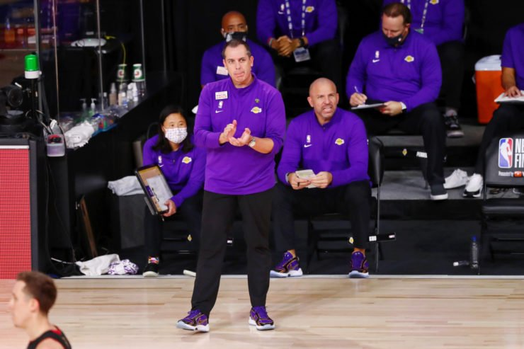 Lakers head coach Frank Vogel claps after a play against the Miami Heat during the second quarter in game six of the 2020 NBA Finals