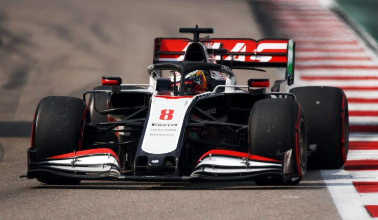 The Haas of Romain Grosjean during practice prior to the Russian GP