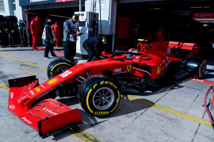 Ferrari's Charles Leclerc in the pits at the Eifel Grand Prix 2020