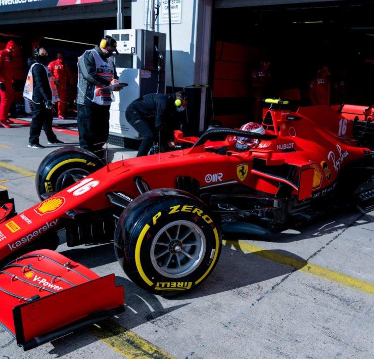 Ferrari's Charles Leclerc in the pits at the Eifel Grand Prix 2020