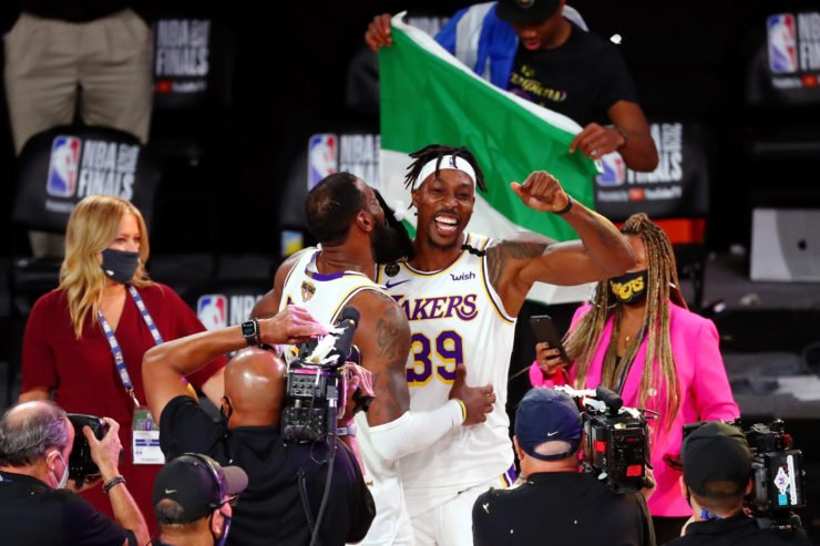 Lakers Dwight Howard Celebrates Winning The Championship With LeBron James