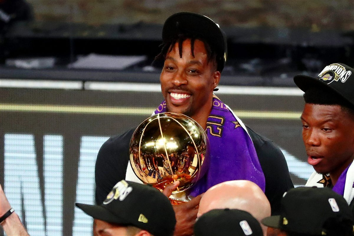 Lakers' Dwight Howard Celebrates With The 2020 NBA Title