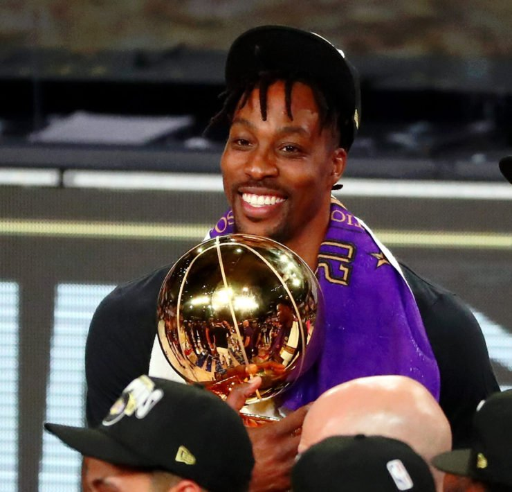 Dwight Howard Celebrates With The 2020 NBA Title