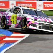 Jimmie Johnson races during the NASCAR Cup Series race at the Charlotte Roval