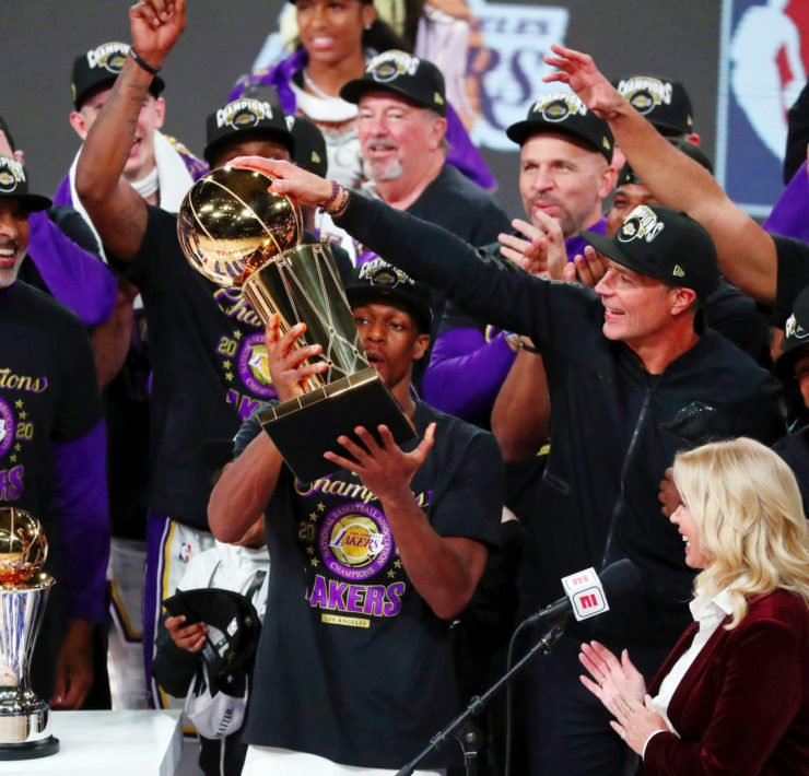 Los Angeles Lakers lifting their championship trophy