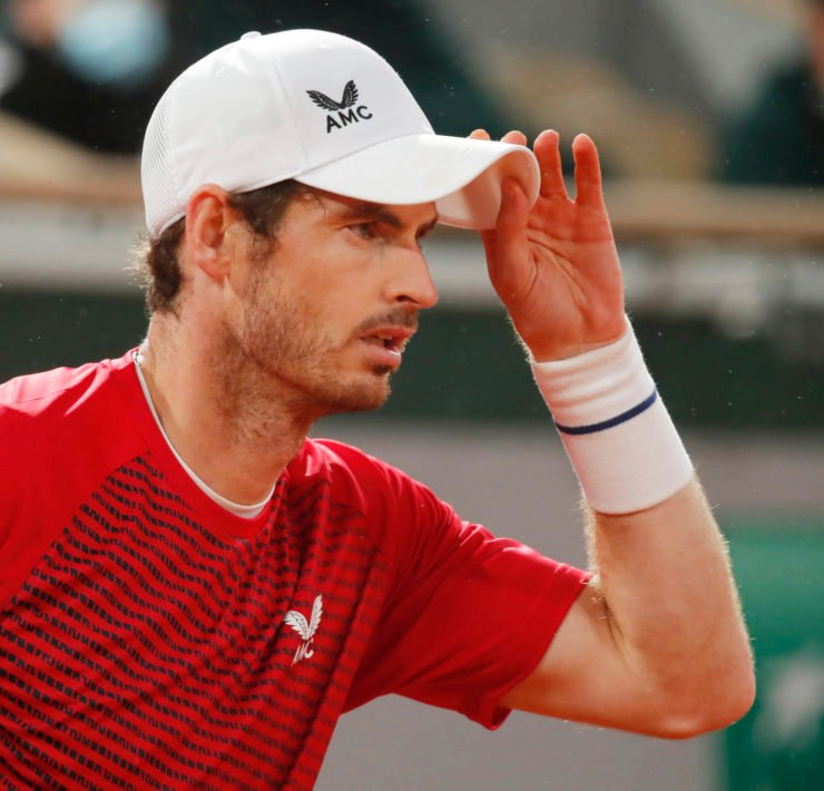 Andy Murray in acton in the French Open 2020
