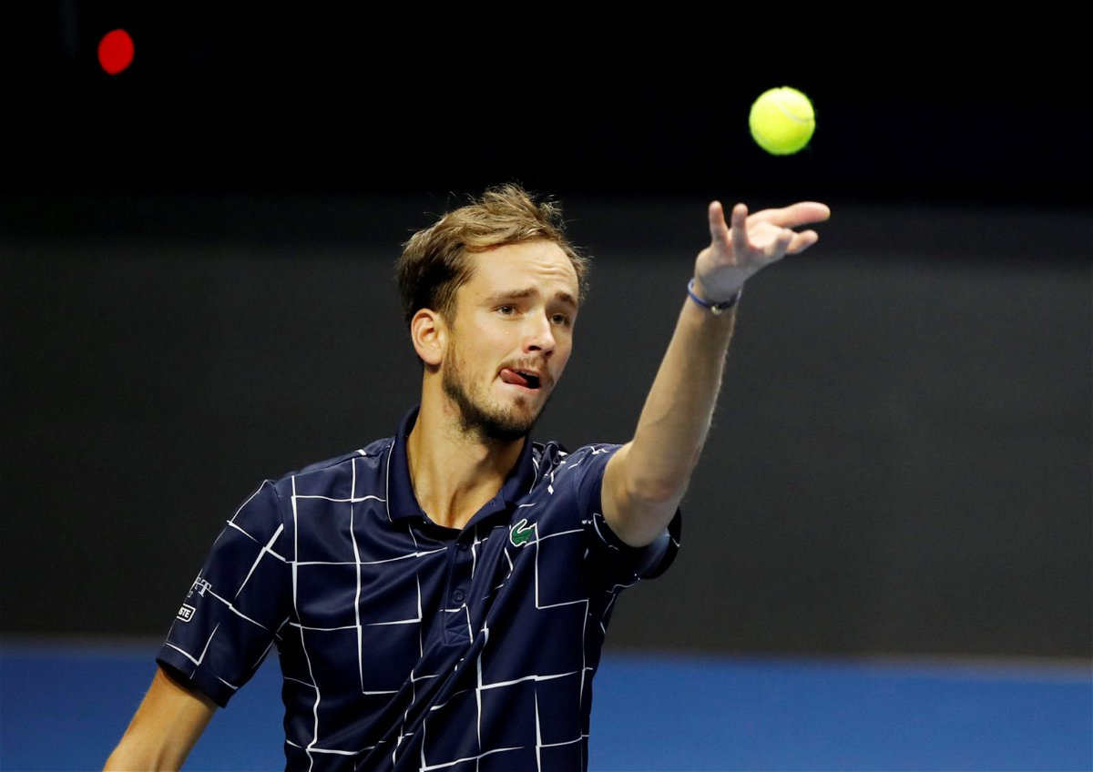 Daniil Medvedev serves during his match at the St. Petersburg Open