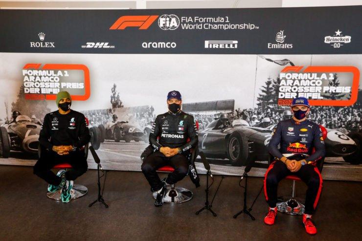 Max Verstappen, Valtteri Bottas and Lewis Hamilton during Eifel GP Press Conference