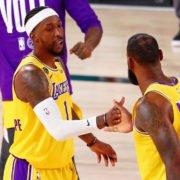 Lakers' LeBron James with Kentavious Caldwell-Pope