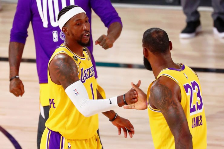 Lakers' LeBron James with Kentavious Caldwell-Pope