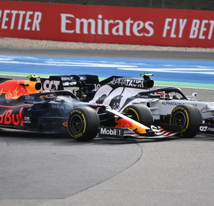 Red Bull driver Alex Albon clashes with Daniil Kvyat