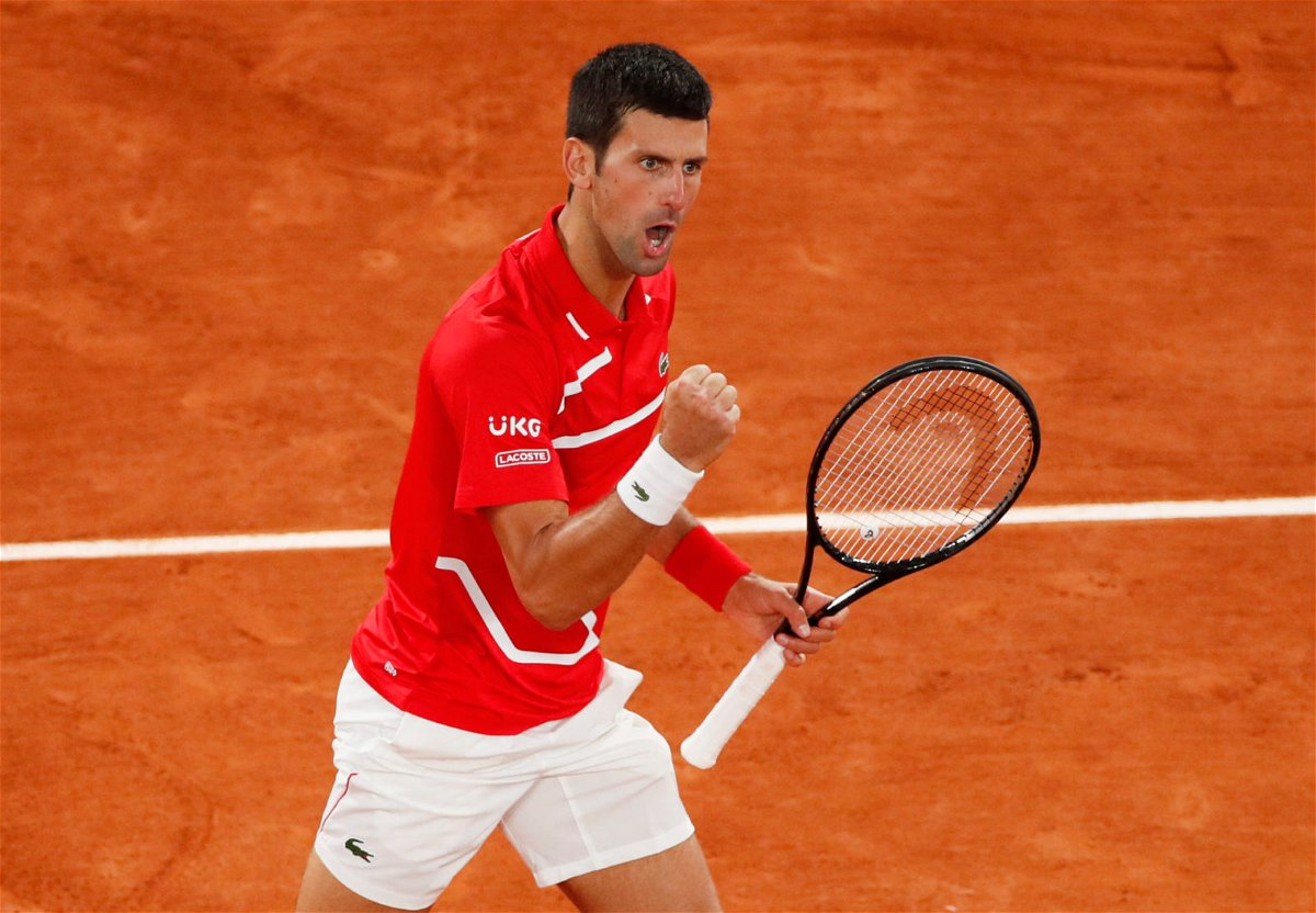Novak Djokovic in action in the French Open 2020