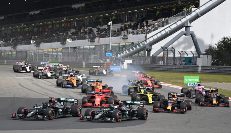 The action unfolds after lights out at the F1 Eifel GP