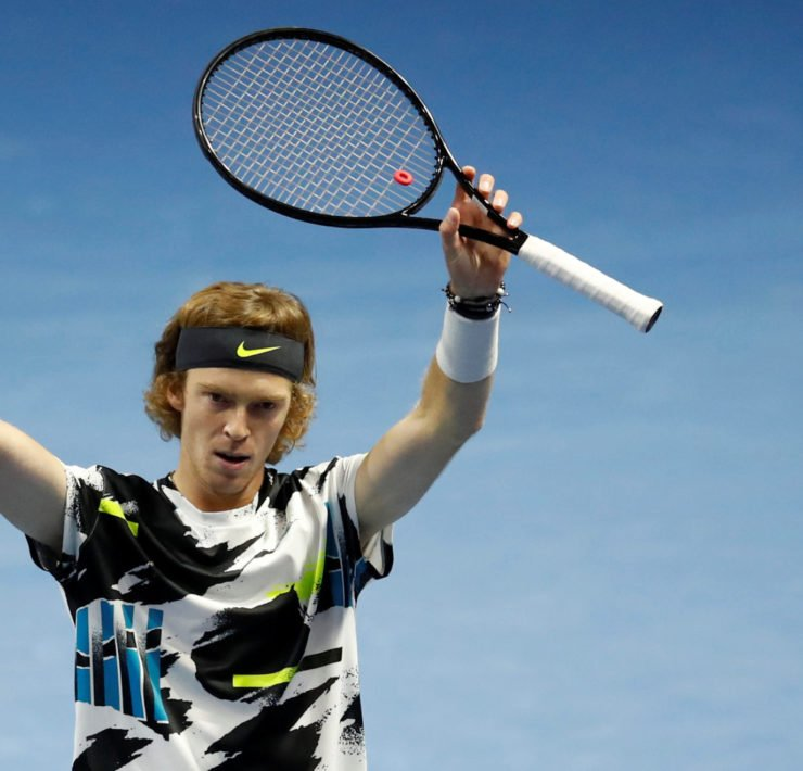 Andrey Rublev celebrates at St. Petersburg Open 2020