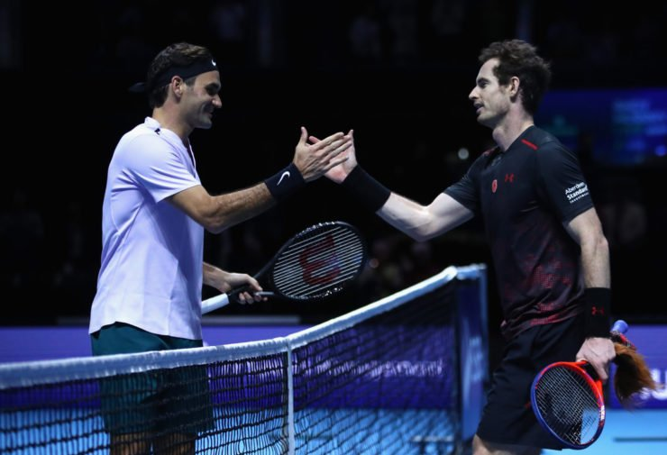 Andy Murray and Roger Federer shake hands