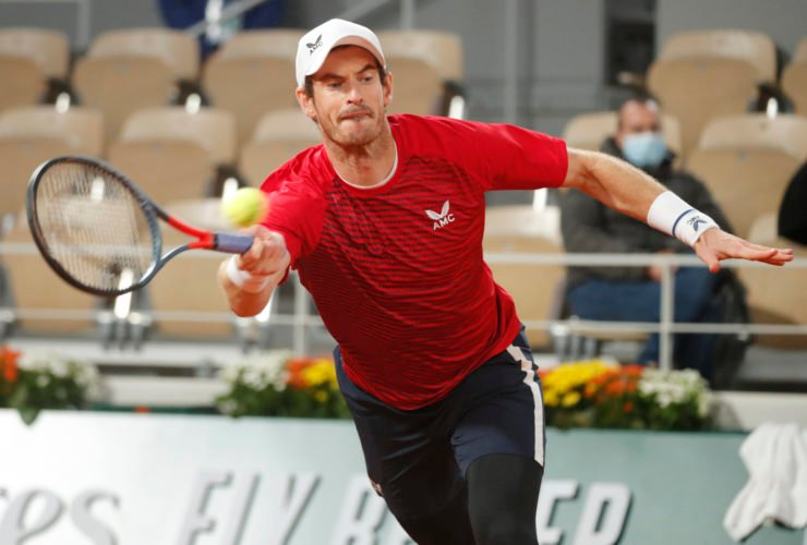 Andy Murray in action in the French Open 2020