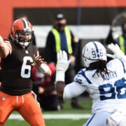 Cleveland Browns quarterback Baker Mayfield attempts to make a throw against Dallas Cowboys in Week Five.