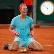 Rafael Nadal celebrates his victory in the French Open 2020