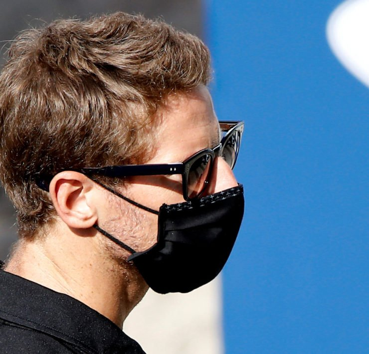 Romain Grosjean looks on ahead of the Russian GP