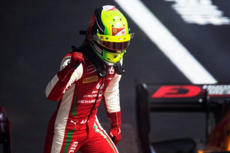 Mick Schumacher celebrates the F2 Russian Grand Prix win