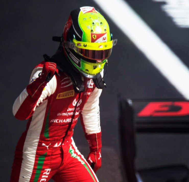 Mick Schumacher celebrates the F2 Russian Grand Prix win