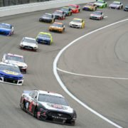 Kevin Harvick in action in NASCAR Cup Series race at Kansas Speedway