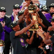 Los Angeles Lakers hold the trophy after becoming 2020 champions