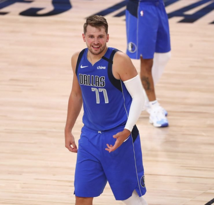 Luka Doncic playing against LA Clippers in NBA Playoffs
