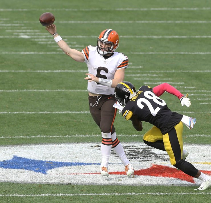 Cleveland Browns quarterback Baker Mayfield attempts to make a throw against Pittsburgh Steelers in Week Six.
