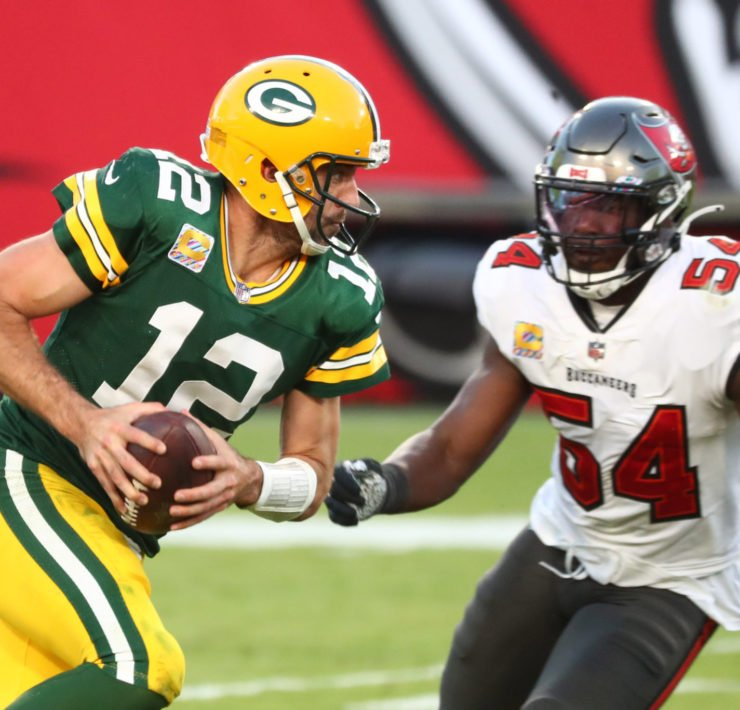 Green Bay Packers quarterback Aaron Rodgers attempts to make a play against Tampa Bay Buccaneers in Week Six.