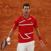 Novak Djokovic in action in the French Open 2020