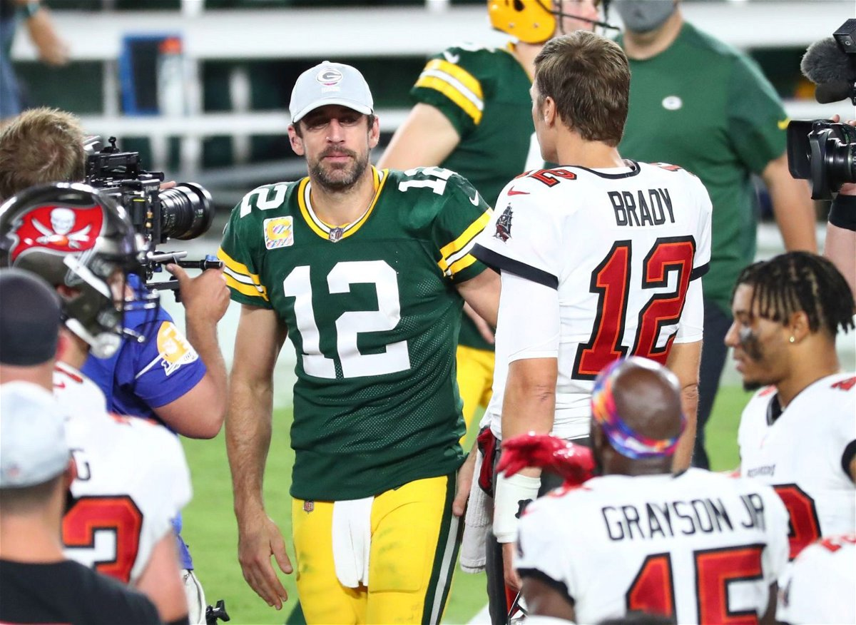 Green Bay Packers quarterback Aaron Rodgers pictured with Tampa Bay Buccaneers quarterback Tom Brady.