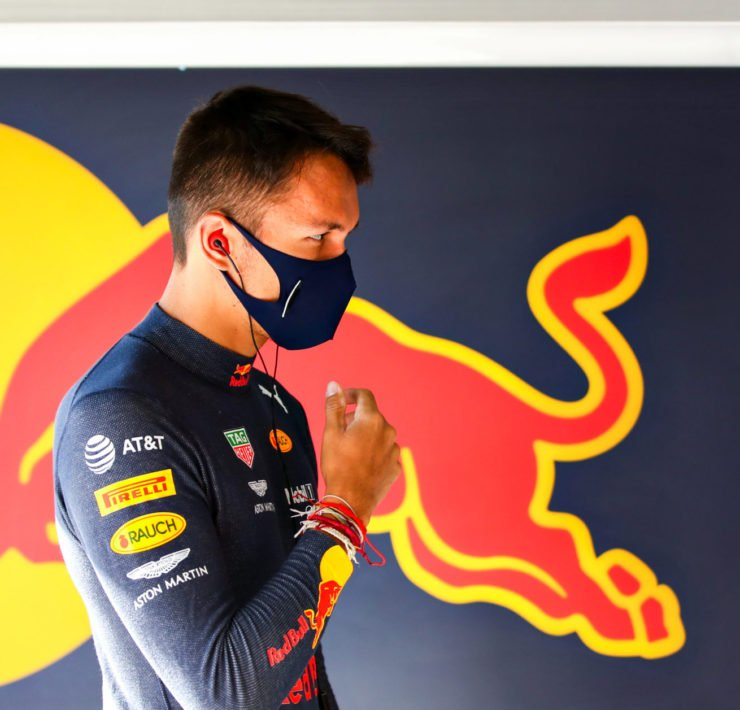 Alex Albon in the Red Bull garage prior to Eifel GP