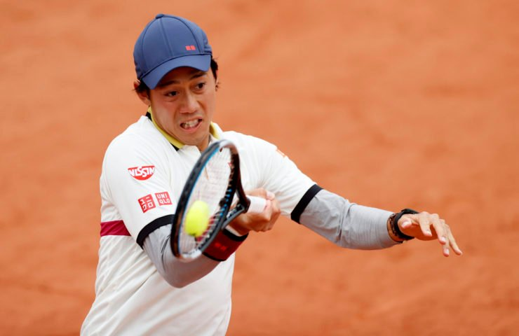 Kei Nishikori in action at French Open 2020