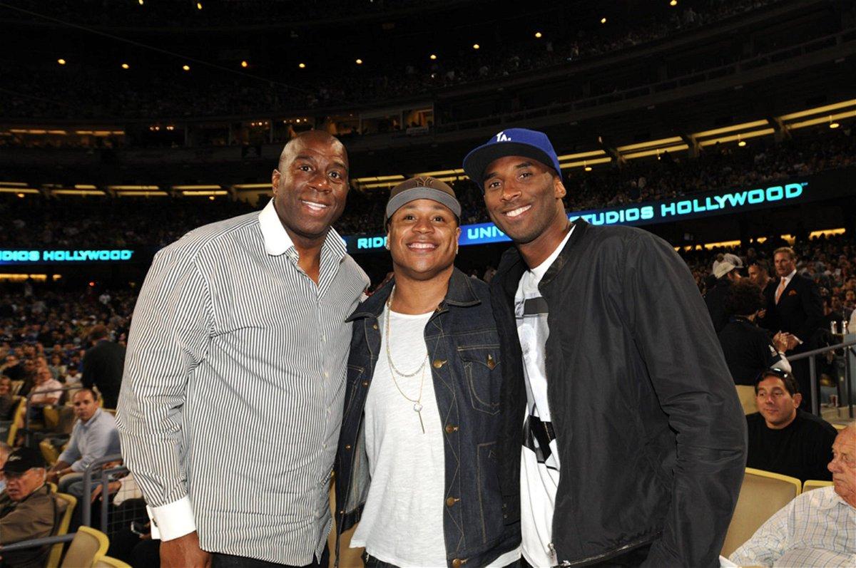 Magic Johnson and Kobe Bryant of the Lakers
